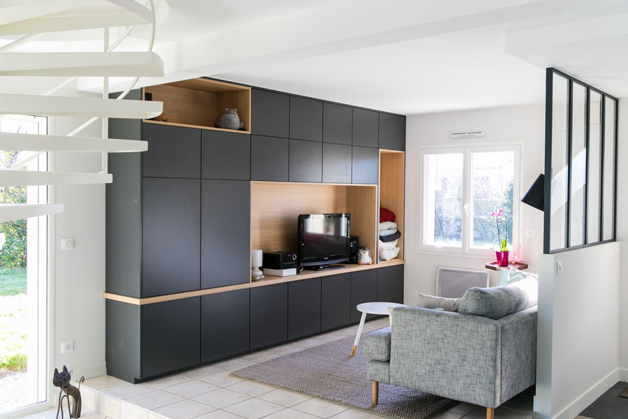 meuble salon, sur mesure, meuble tv, bibliothèque, bois, salon, verrière industrielle
