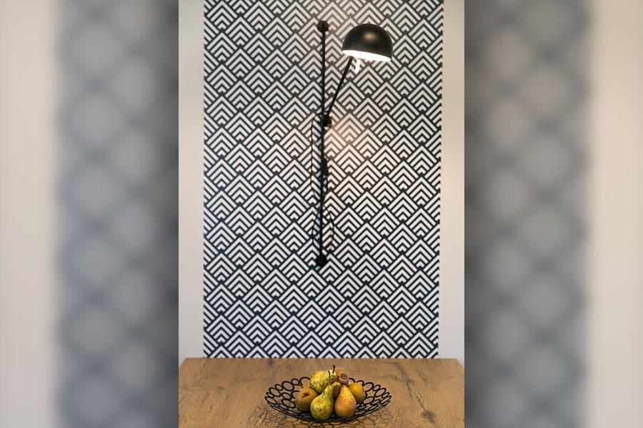 cuisine, applique industrielle, tapisserie géométrique, bleu, bois, graphique