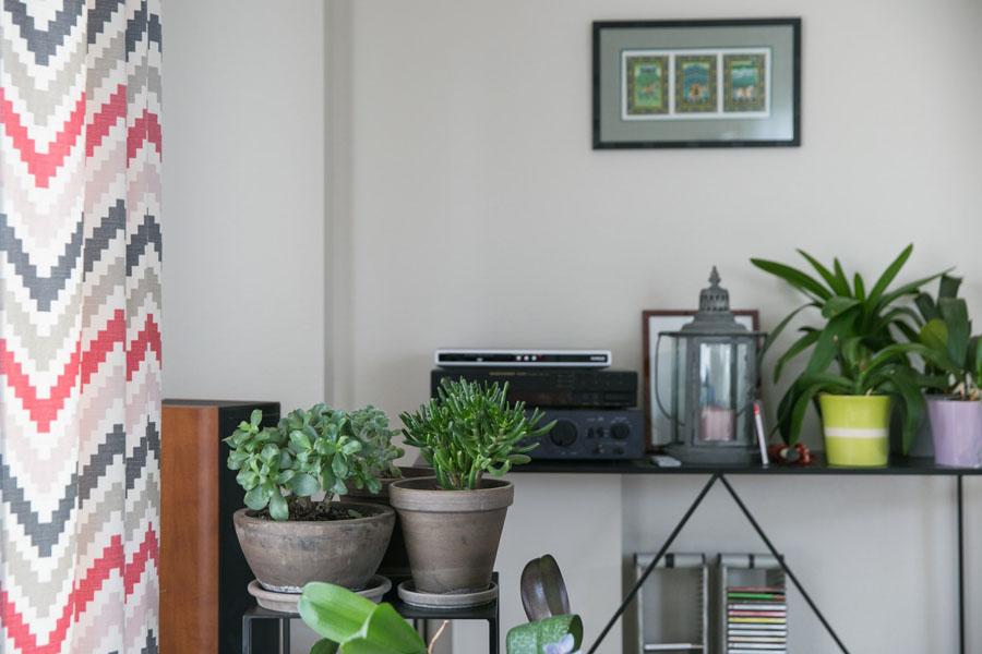 Salon, salle à manger, rose, vert, plante, parquet, rideaux rose, ethnique, géométrique, lumineux, salon chaleureux, suspensions moderne, bibliothèque, Calligaris, motif géométrique , architecture d'intérieur