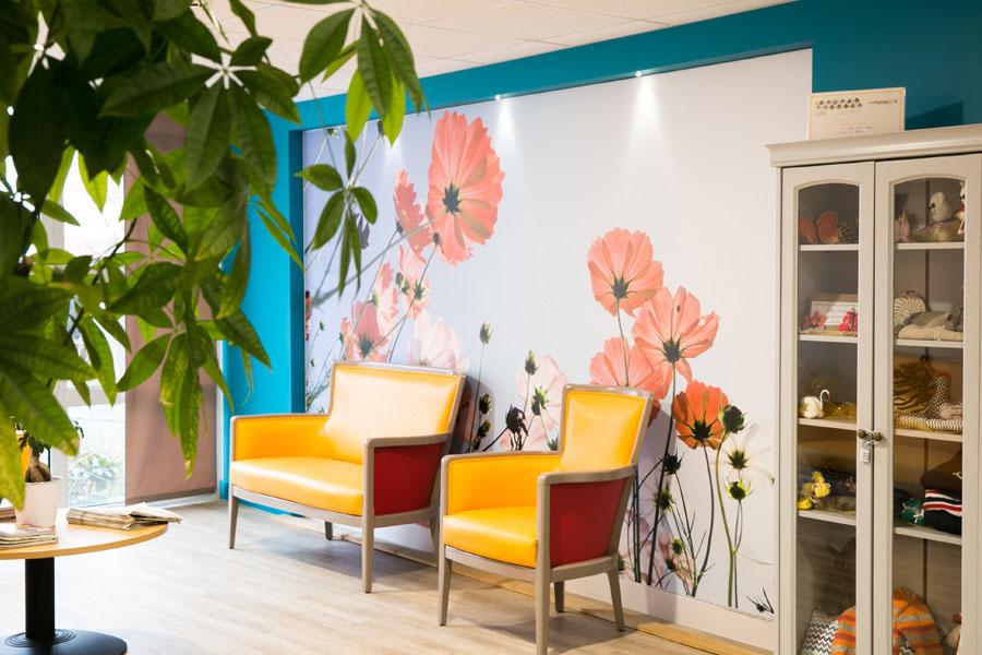maison de retraite, décor mural, toile imprimée, fleur
