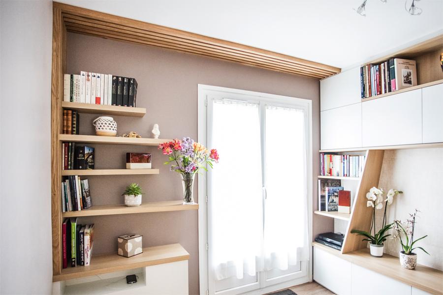bibliotèque, meubl sur mesure TV