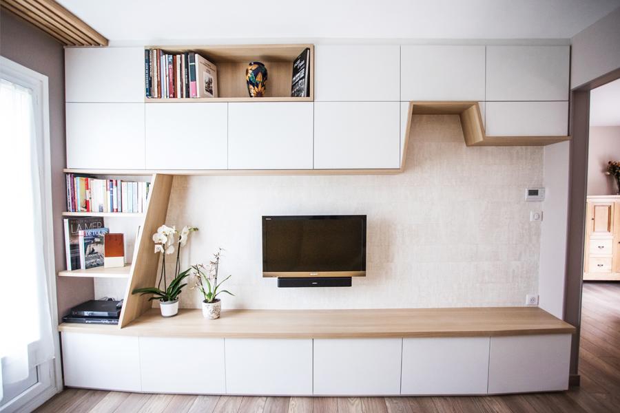 meuble TV sur mesure, sur mesure, TV, tasseau bois