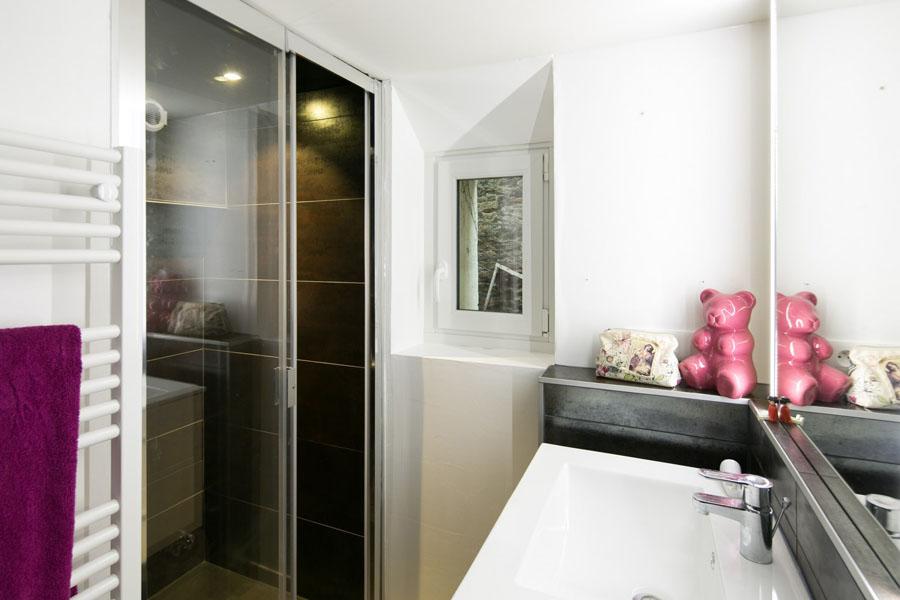 douche, faïence foncé, salle de bain