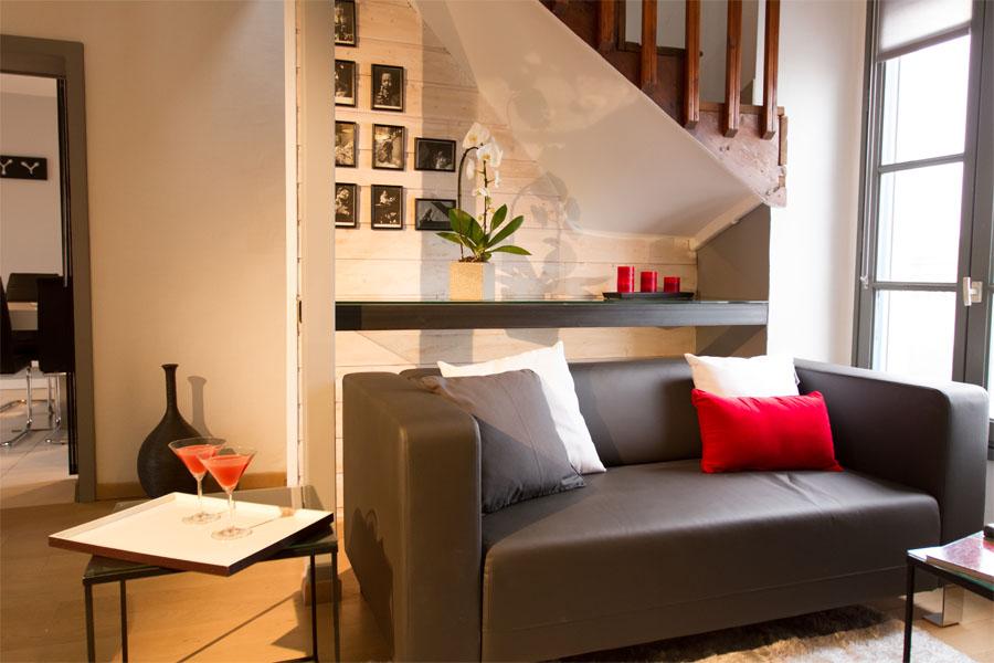 canapé, salon, photos noires et blanches
